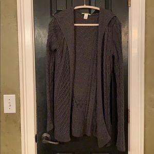 WHBM long soft gray hooded sweater medium